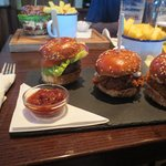 Sliders, one is beef, one pulled pork and one chicken. Very tasty. A big meal.