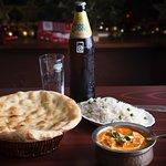 Chicken Korma with Basmati rice, Naan bread and Indian beer, Cobra.