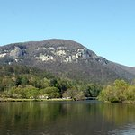 This is the view from our dock on Lake Lure.