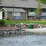 View of Fox River Paddle Sports and the kayak launch from the east side of the Fox River