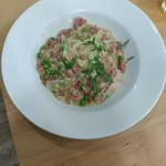 Pulled ham and pea risotto