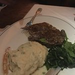Ribeye with spinach and mashed potatoes