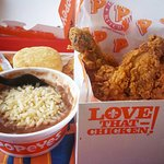 Our Deep fried chicken with beans and rice