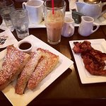 french toast, iced coffee, side of bacon!