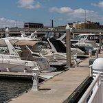 The Riverwalk passes hundreds of boat slips