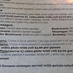 German Cake Shop Bakery (Hahndorf, South Australia) - part of their menu