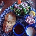 roast chicken with salad