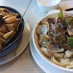 Bean curd with assorted meat hot pot, black bean sauce beef rice noodles