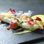 Poached White Asparagus with Hollandaise Sauce and Parma Ham