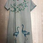 Linen dress with painting by hand