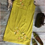 linen dress with embroidery  by machine