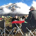 Enjoying breakfast at mt kilimanjaro