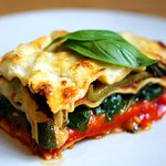 Vegetarian Lasagne with zucchini, eggplant and spinach