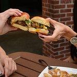 Mini Burgers: Angus beef, fried egg, pimento cheese, bacon jam, arugula and fries