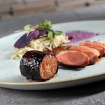 DUCK VARIATION, WHITE CABBAGE WITH HERBS, potato, duck sauce with red cabbage juice