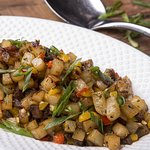 Braised Beef Rib Hash: Shredded beef ribs with potatoes, peppers, onions and Brazilian seasoning