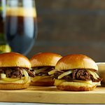 Bar Fogo Braised Beef Rib Sliders: Xingu beer braised beef, caramelized onions, melted provolone