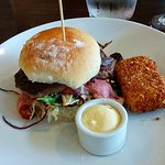 Burger Oxford style at The Oxford restaurant in Timaru