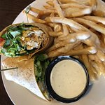 Buffalo Chicken Wrap with Queso Fries