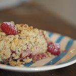 Apple and raspberry crumble
