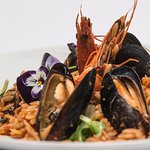 """""""Seafood orzo risotto with octopus, mussels, shrimps and vegetables"""""""