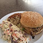 Grilled chicken w/BBQ sauce, cole slaw and rice/beans.