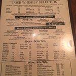 Menus, views, my espresso martini and my 20 ounce draft Guinness