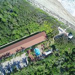Drone pic of Seashell Suites Directly on Beach