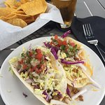 tacos, great chips and quacamole