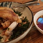 Free range Shandong half chicken on a bed of crispy Chinese kale with red vinegar, garlic, shall