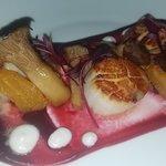 Kodiak Scallops with beet maple puree, horseradish, king oyster mushrooms, roasted beets