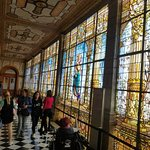 stained glass hallway