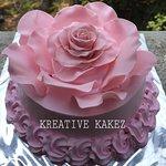 Handmade Pink Rose fondant cake