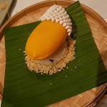 A reinterpretation of the Thai classic mango sticky rice dessert
