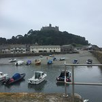 St. Michael's Mount: My daughter and I waiting for the path at the bottom of the sea to the castle!