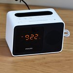 Blue tooth clock radio can play your own music. USB plugs in wall.