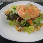 Pastilla de crevettes et julienne de légume sauce vierge
