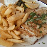 Grilled Jewfish, chips and salad