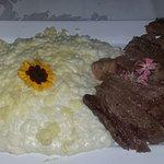 Arroz Piamontese e bife ancho