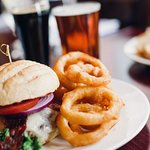Firefly burger, beer-battered onion rings; 16 beers on draught