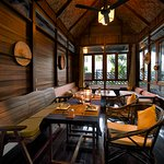 The indoor restaurant