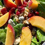 Summer Spinach Salad with Peaches, Walnuts, Gorgonzola & Red Onion