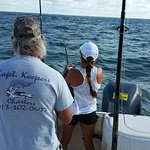 My beautiful bride at the start of the fight - fishing for shark.