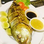 Grilled Fish with French Fries Potatoes + Mixed Salad + Garlic Sauce + Thai Soya Sauce