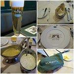 ビール/お肉のソース/テーブルセッティング