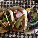 (left to right) Mushroom Taco, Tempeh Chorizo Taco, Fried Tofu Taco