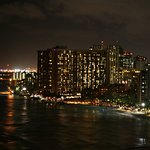 Waikiki view at night from our balcony