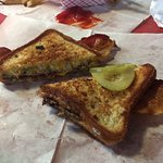Abe's Patty Melt with bacon