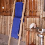 Seaview bamboo bungalow open-air bathroom