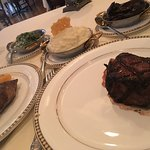 Filet, Creamed Spinach, Goat Cheese Mashed Potatoes, Portobello Mushrooms in Red Wine